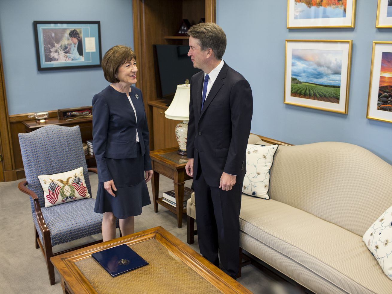 Sen. Susan Collins and Supreme Court nominee Brett Kavanaugh in her office on Capitol Hill on August 21, 2018.