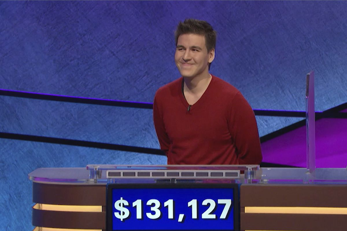 """FILE - This file image made from video and provided by Jeopardy Productions, Inc. shows """"Jeopardy!"""" contestant James Holzhauer on an episode that aired on April 17, 2019. On his 14th appearance Tuesday, April 23, 2019, Holzhauer eclipsed the $1 million ma"""