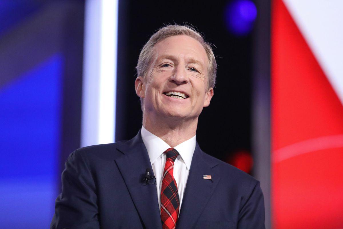 Democratic candidate Tom Steyer at the tenth democratic debate in South Carolina.
