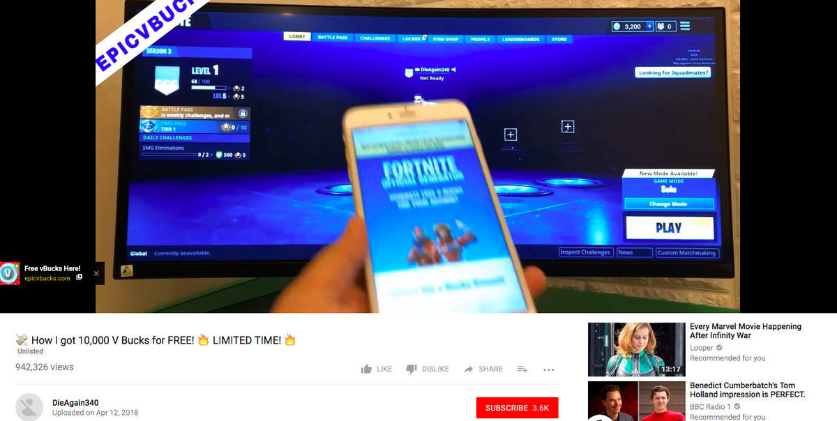 """Fortnite """"free V-Bucks"""" scams are taking over YouTube"""