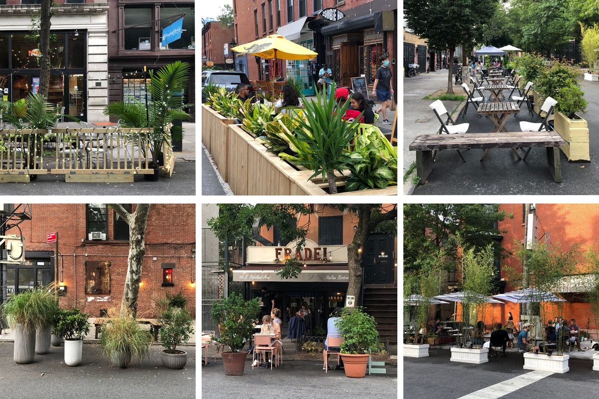 A grid of images of outdoor restaurants enclose with plants and planter boxes.