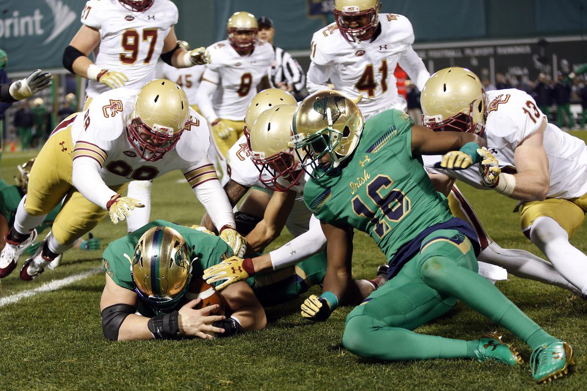 Approximately 1 of 3 Notre Dame plays ended with a frenzied fumble recovery.