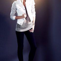 Denim & leather jacket ($445.00) and Super Skinny jeans ($181).