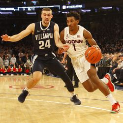 The Villanova Wildcats take on the UConn Huskies in a men's college basketball game at Madison Square Garden in New York, New York on December 22, 2018.