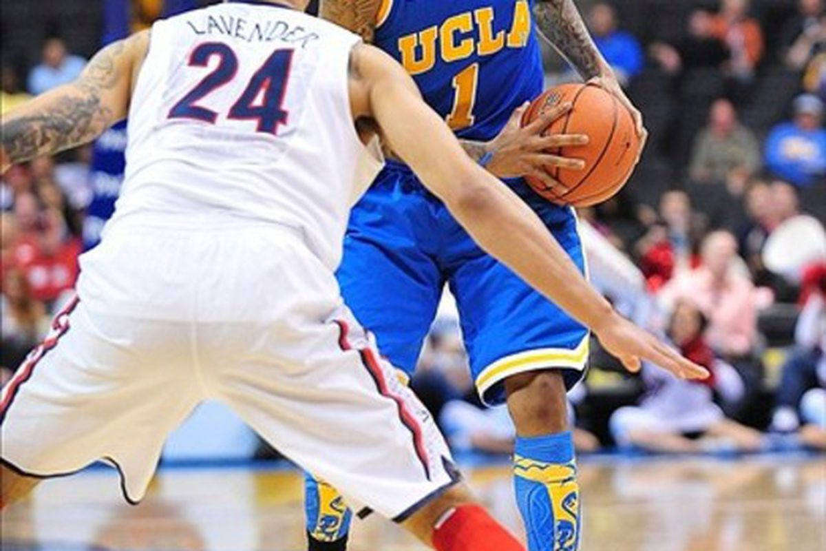 UCLA Bruins guard Tyler Lamb (1) had 10 assists in the first exhibition game.  Mandatory Credit: Gary A. Vasquez-US PRESSWIRE