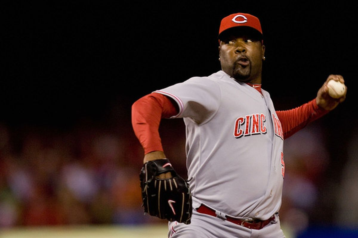 ST. LOUIS - SEPTEMBER 3: Reliever Arthur Rhodes #56 of the Cincinnati Reds pitches against the St. Louis Cardinals at Busch Stadium on September 3 2010 in St. Louis Missouri.  The Cardinals beat the Reds 3-2.  (Photo by Dilip Vishwanat/Getty Images)