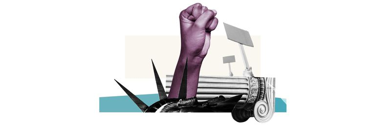 An illustration of a raised Black fist and political symbols.
