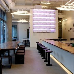 """On the far end, there will be a """"living wall"""" of plants. The """"community table"""" on the left is meant to be """"big enough that you wouldn't feel awkward sitting with someone you didn't know,"""" said Muir. """"Almost as big as a bar. Because sometimes groups gather"""