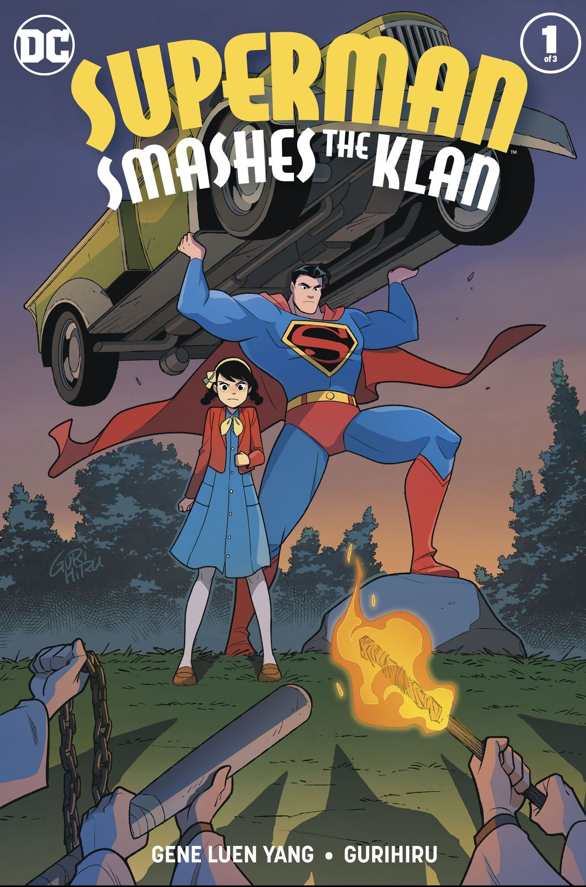 Superman hefts a car to throw at torch, chain, and bat-wielding enemies, alongside a young girl in a red jacket, on the cover of Superman Smashes the Klan #1, DC Comics (2019).