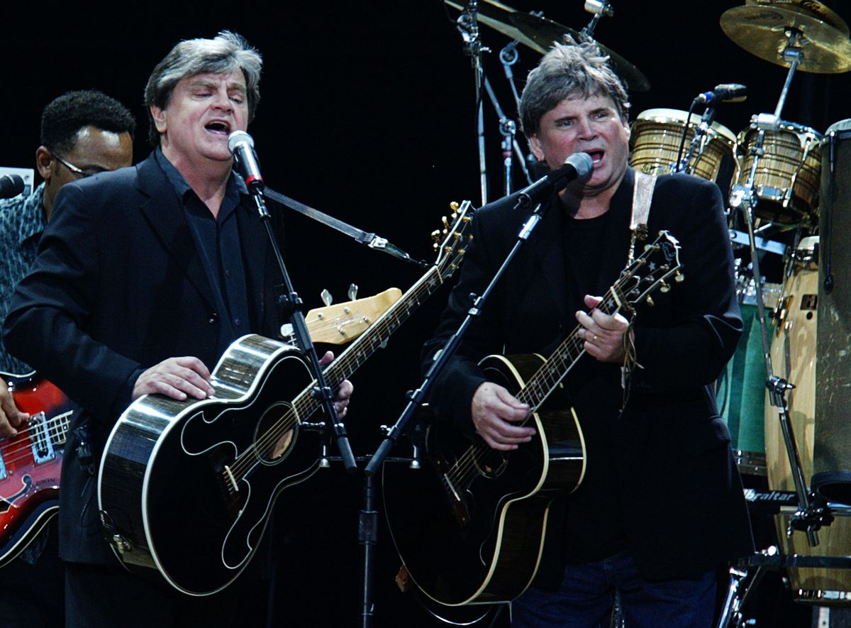 Musical artists Don and Phil Everly of The Everly Brothers support Simon and Garfunkel's second of two UK gigs, the first for 20 years, on July 15, 2004 in Hyde Park, London.