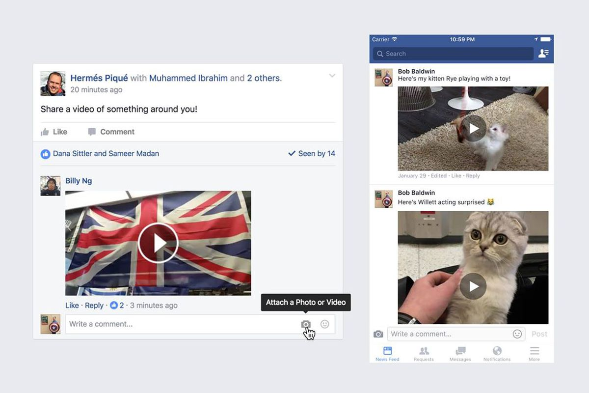 Facebook allows users to upload videos in comments - The Verge