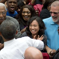 President Barack Obama greets people after speaking at a campaign event at Eden Park's Seasongood Pavilion, Monday, Sept. 17, 2012, in Cincinnati, Ohio.