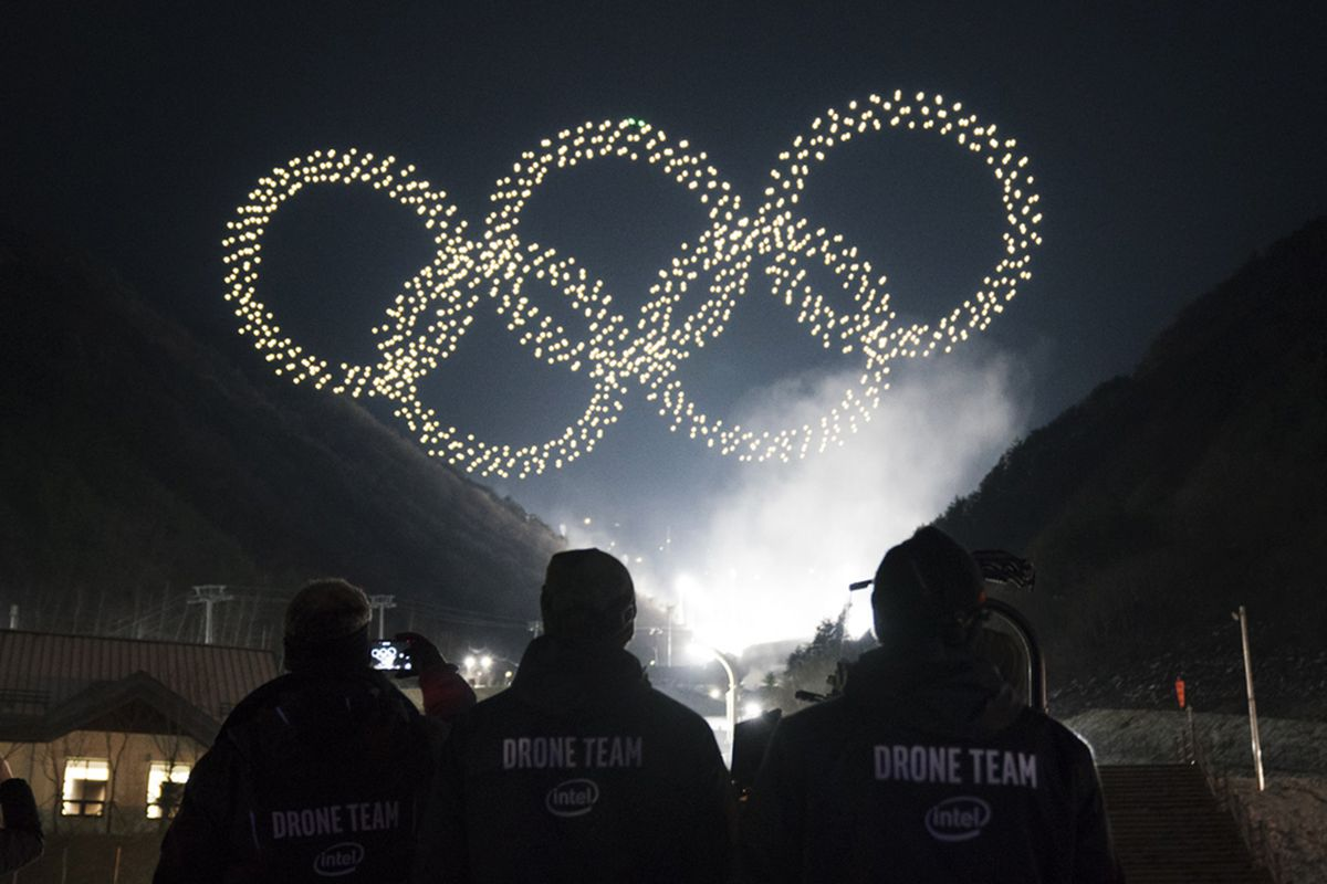 Watch as Intel smashes drone record with flying light show for Olympics