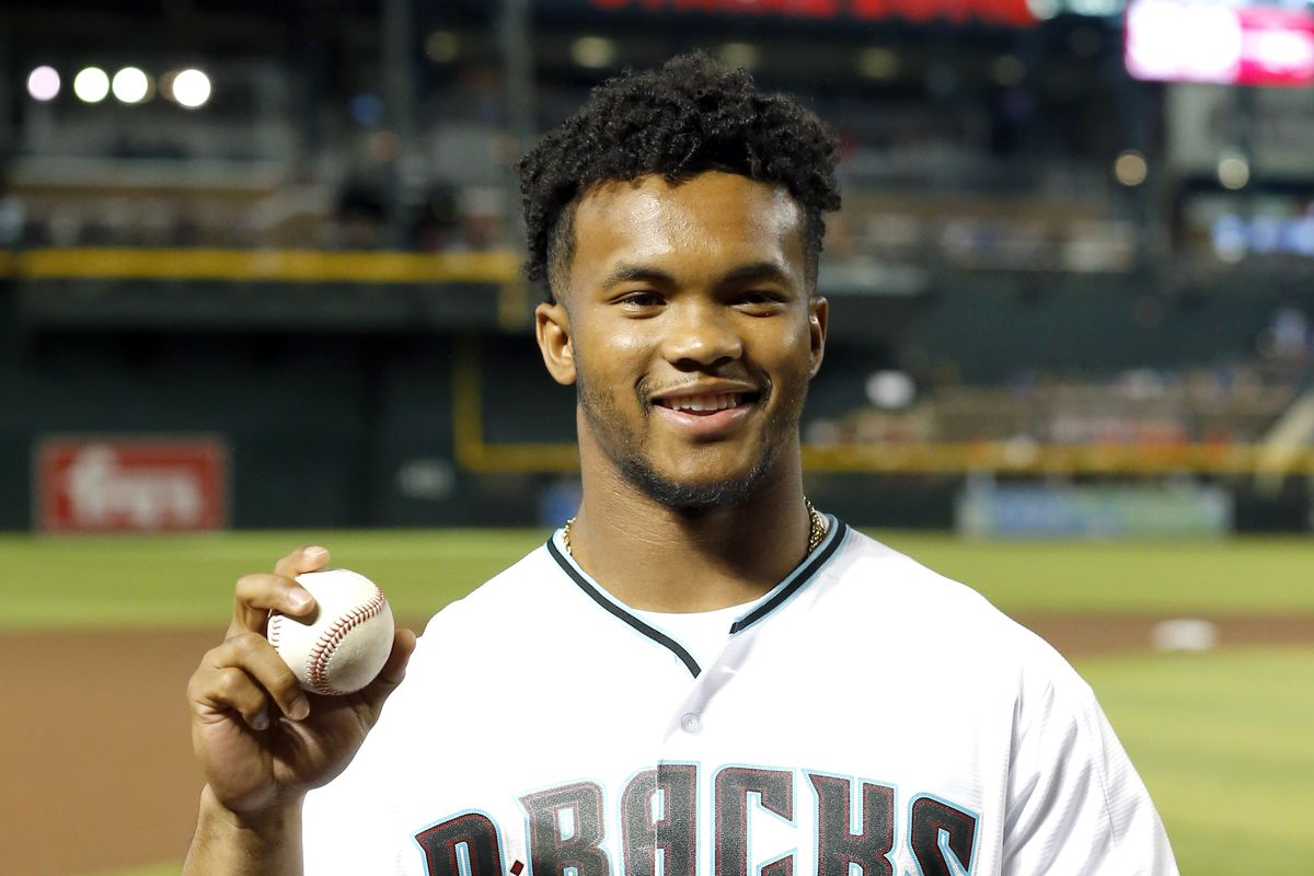 66671e569e5a98 Oklahoma Football: Kyler Murray throws out the first pitch for the ...