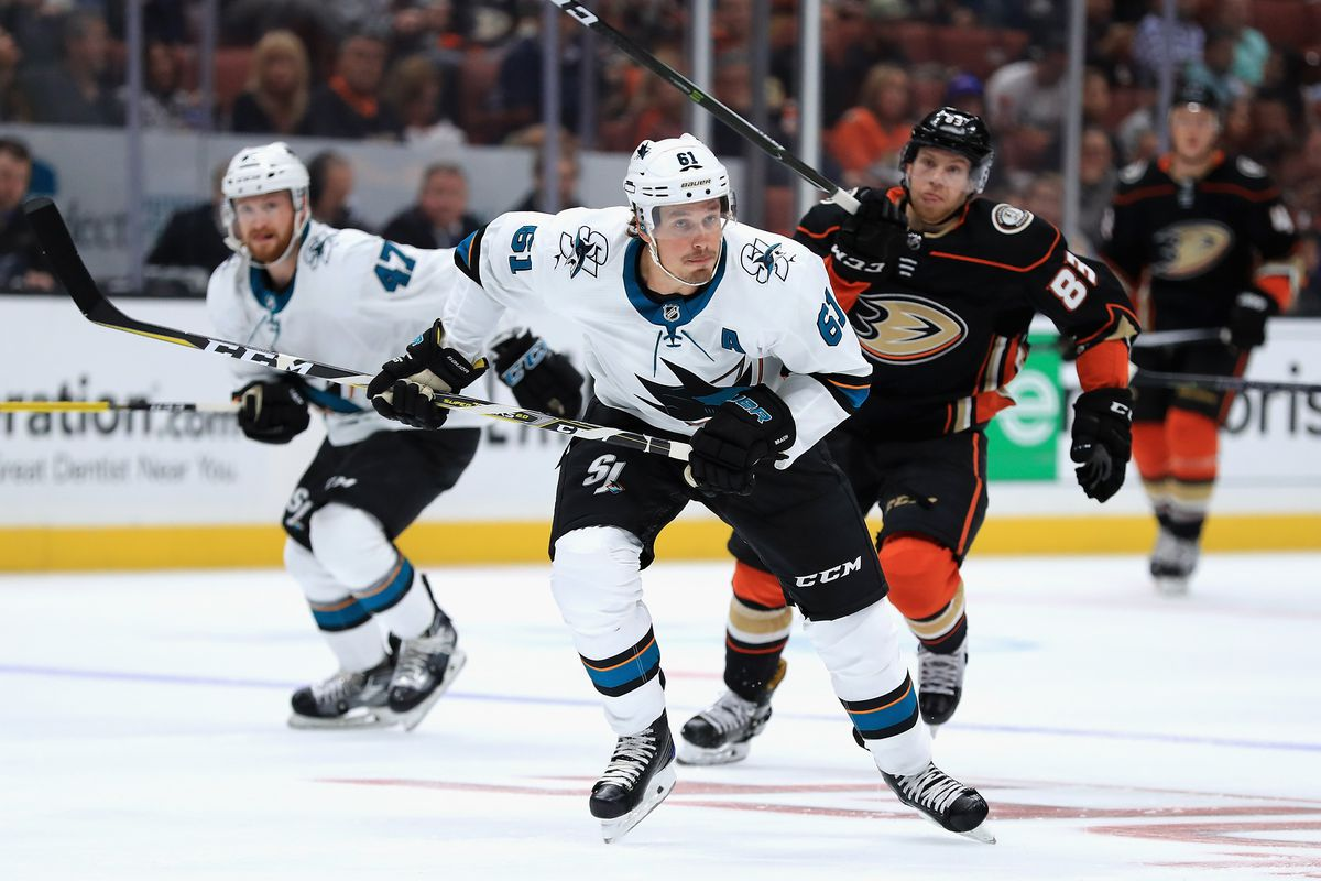 ANAHEIM, CA - SEPTEMBER 28: Justin Braun #61 of the San Jose Sharks skates up ice during the third period of a preseason game against the Anaheim Ducks at Honda Center on September 28, 2017 in Anaheim, California.