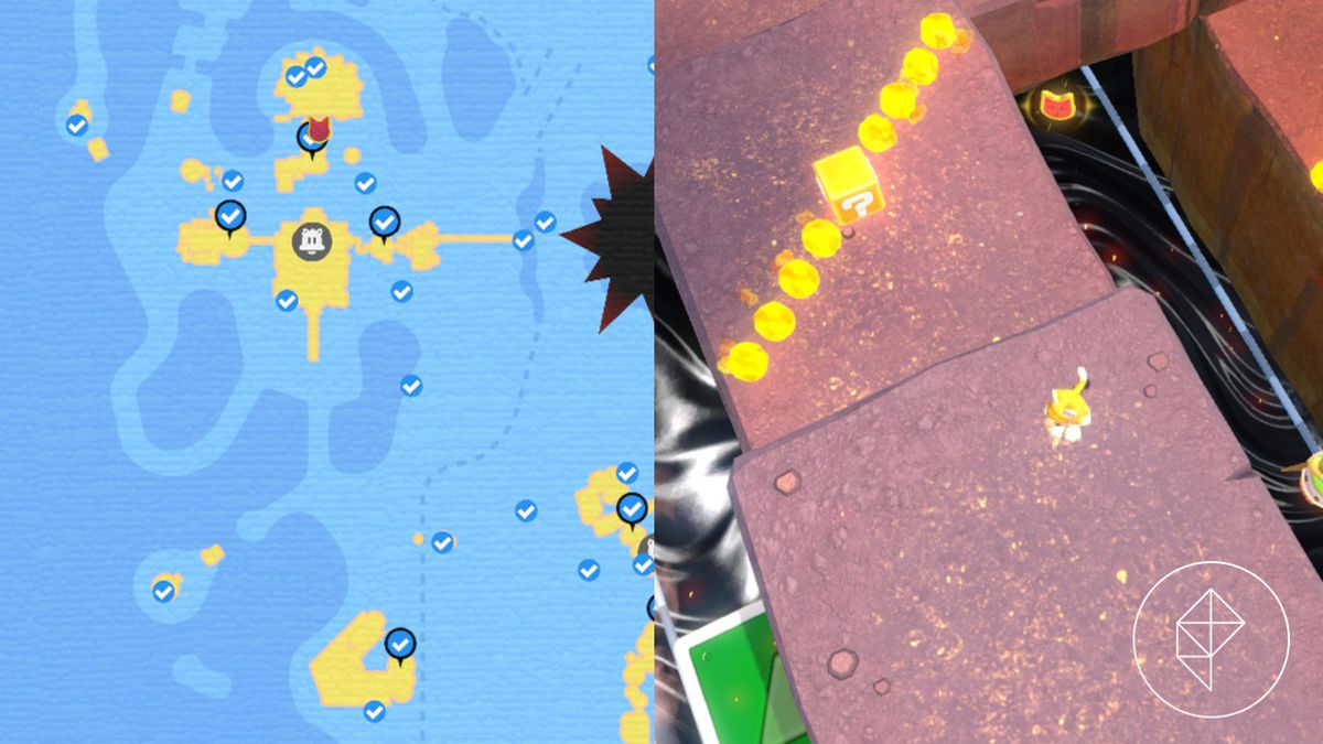 A map showing where to find a Cat Shine Shard that you need a hidden traveling mechanism to get.