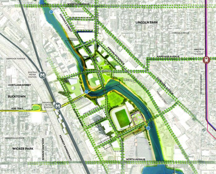Map of the Lincoln Yards proposal. | Provided by Skidmore, Owings & Merrill LLP (SOM)