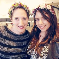 """Half way through the day, Lipstick's assistant editor Julianne Carell tells me one of our favorite PR people sent us floral crowns—that she made. Here we are wearing our <b><a href=""""http://instagram.com/crownsbychristy"""">Crowns by Christy</a></b> creations"""