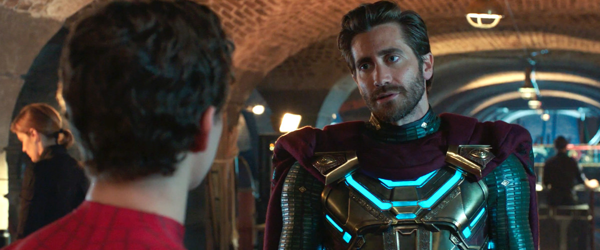 Mysterio looks at Spider-Man in Spider-Man: Far From Home