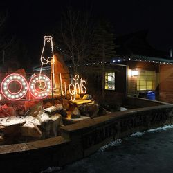 The entrance to Utah's Hogle Zoo is decorated with Christmas lights in Salt Lake City on Dec. 3, 2015. This year marks the 11th anniversary of ZooLights.