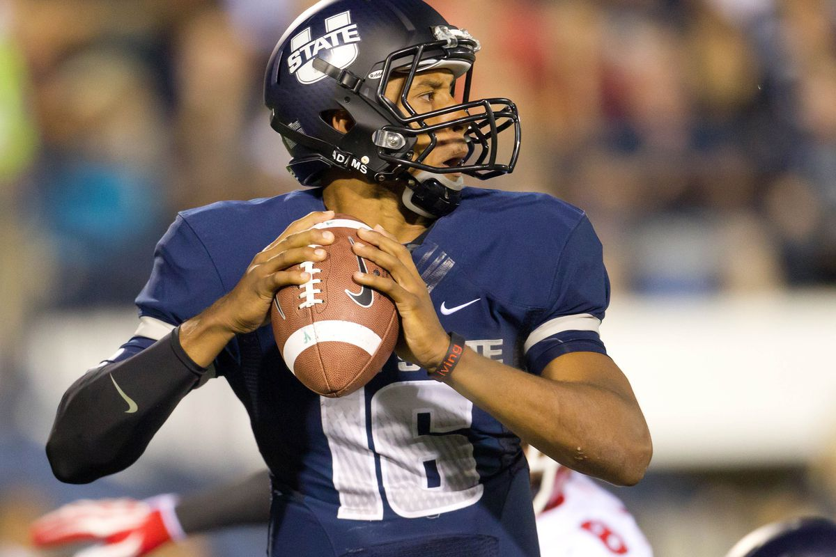 Utah State quarterback threw for 216 yards and two touchdowns while rushing for 86 yards in the Aggies' 27-20 overtime win over Utah last weekend.