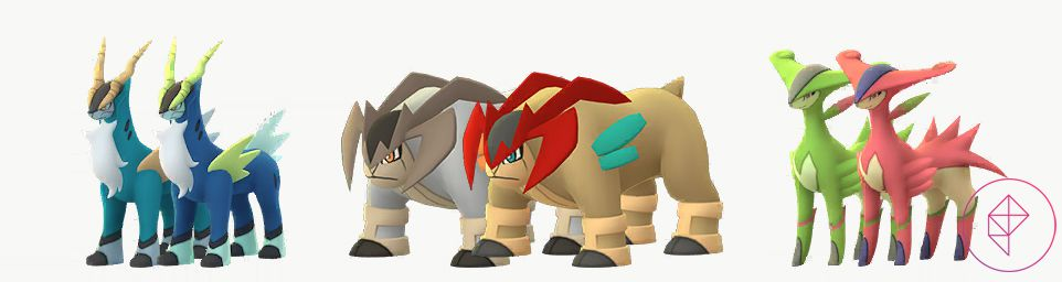 The Shiny Sacred Sword trio with their normal forms. Shiny Cobalion is a darker blue with yellow-green accents. Shiny Terrakion is a lighter brown with red and teal accents. Shiny Virizion is pink.