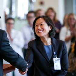 Dr. Marc Harrison, president and CEO of Intermountain Healthcare, introduces Dr. Suji Lee, medical director of the Intermountain Kidney Care Center, at its grand opening at Intermountain Medical Center in Murray on Thursday, Sept. 5, 2019.