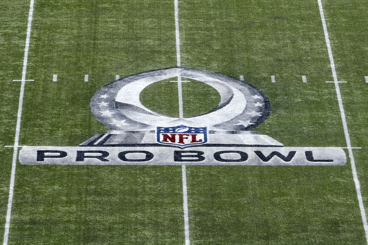 A general view of the Pro Bowl Logo on the field at Camping World Stadium before the start of 2018 Pro Bowl Game between the AFC Team against the NFC Team on January 28, 2018 in Orlando, Florida.