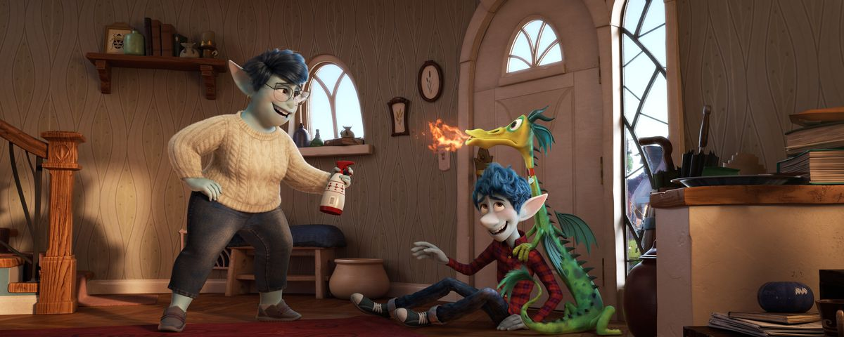 in Onward, a middle-aged, blue-skinned elf mom in a white cable-knit sweater squirts water on a hyper, green-and-yellow pet house dragon that's breathing fire while leaning on her smiling teenage elf son Ian.