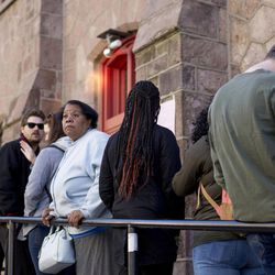 Beulah Robinson waits in a line to vote at AME Union Church on Nov.  8, 2016.