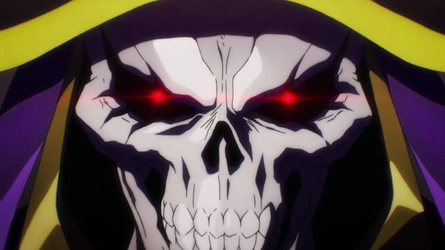 A close-up image of skeleton wizard Ainz Ooal Gown from the anime Overlord