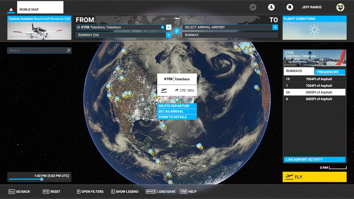 A map in Microsoft Flight Simulator