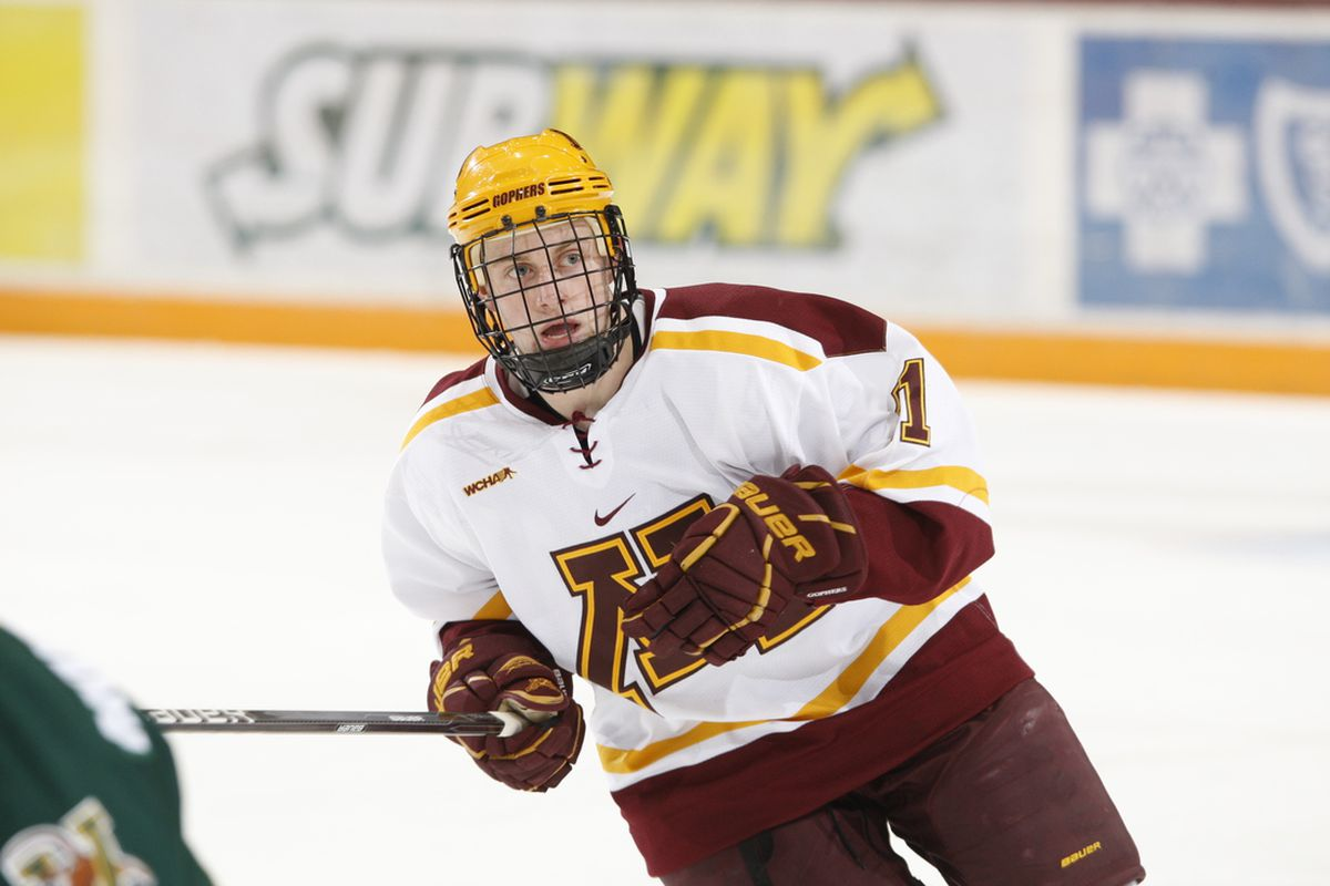 Sam Warning scored his 9th and 10th goals Thursday in Minnesota's 5-3 win over Michigan State.