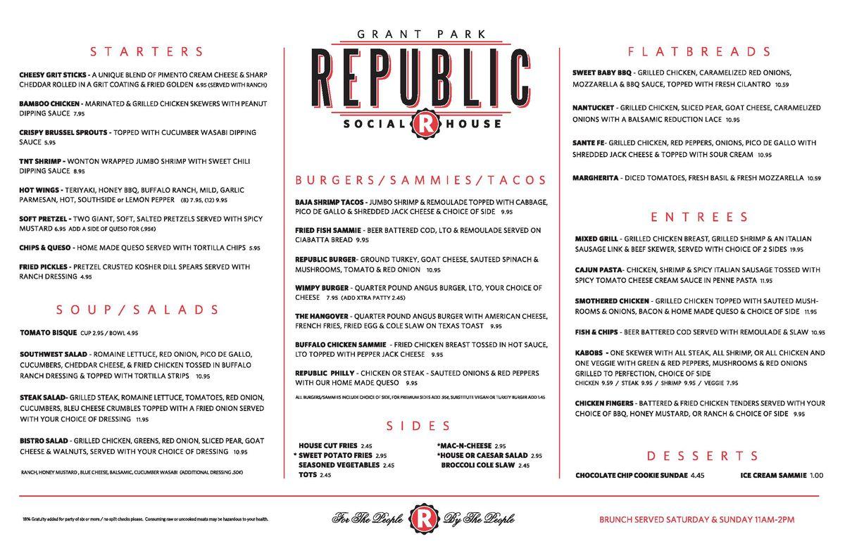 Republic Social House new menu