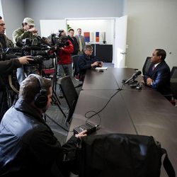 Utah Republican Party Chairman James Evans holds a press conference Tuesday, Dec. 17, 2013, discussing the announcement that Rep. Jim Matheson, D-Utah, will not seek re-election.