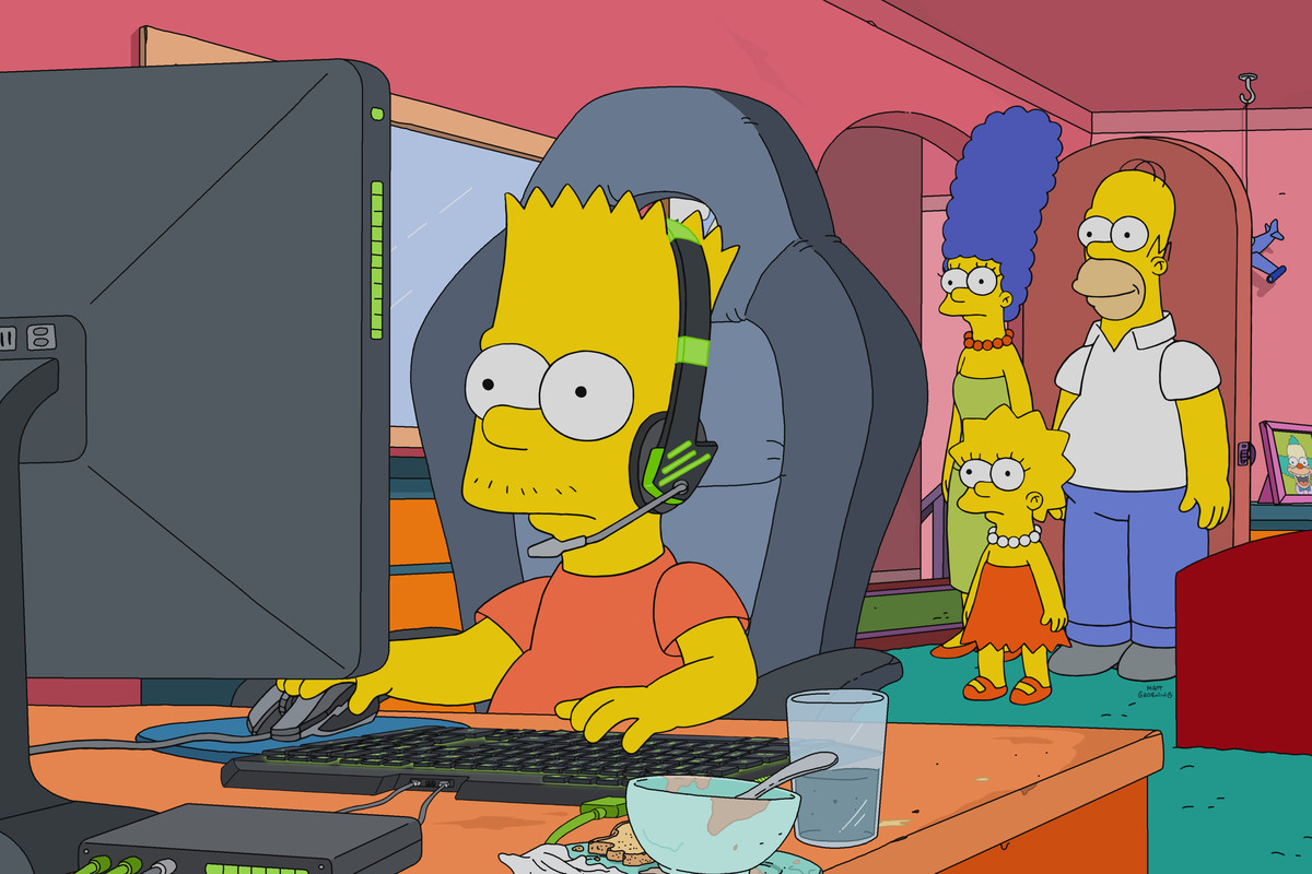 Bart Simpson plays at his gaming PC in a still from The Simpsons.