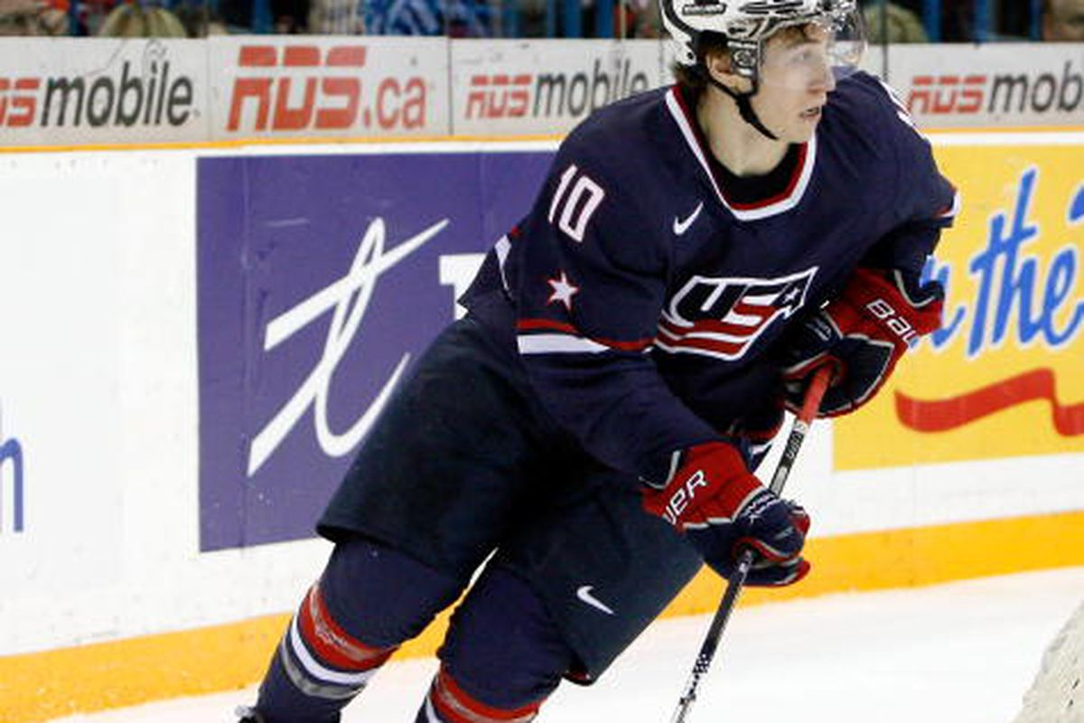 Tyler Johnson, shown here during the IIHF World Junior Championships in 2010, will reportedly sign an entry level contract with the Tampa Bya Lightning.  (Photo by Richard Wolowicz/Getty Images)