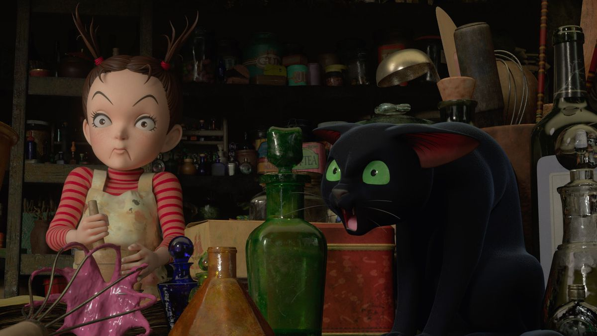 Earwig looks appalled and the black-cat familiar Thomas looks horrified in Earwig and the Witch