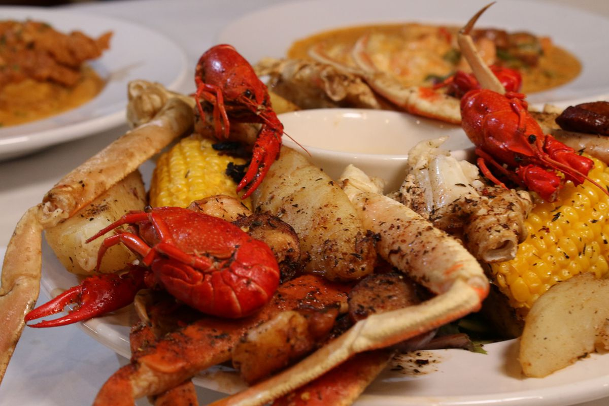 The creole seafood boil, served at Hidden Manna Cafe, is made with crab legs, shrimp, craw fish, spicy chicken andouille sausage with potatoes and corn on the cob. Boiled in cajun seasonings and served with drawn butter.