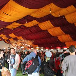Drinkers pack the tent.