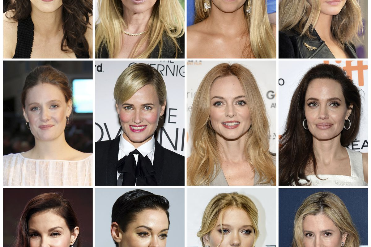 FILE - This combination photo shows actresses listed in alphabetical order, top row from left, Asia Argento, Rosanna Arquette, Jessica Barth, Cara Delevingne, Romola Garai, Judith Godreche, Heather Graham, Angelina Jolie, Ashley Judd, Rose McGowan, Lea Se