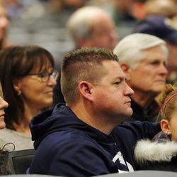 Family, friends and former team members gather to honor former BYU football coach LaVell Edwards at a memorial service at the Provo Convention Center on Friday, Jan. 6, 2017.
