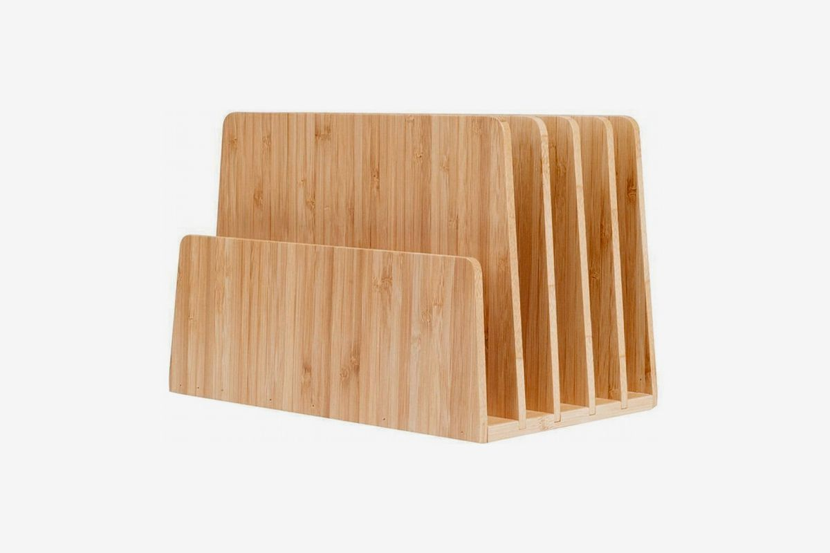 Wooden accessory with slots for mail and files.
