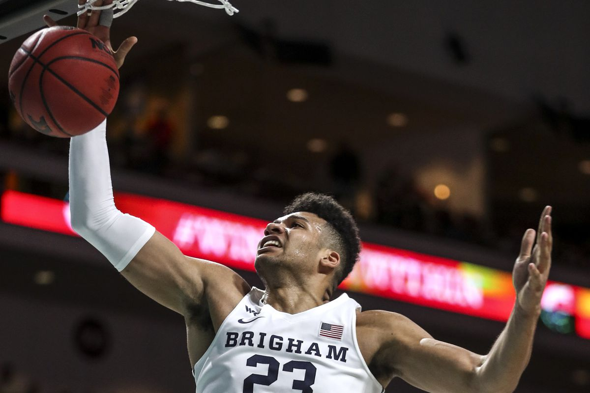 Brigham Young Cougars forward Yoeli Childs (23) stretches for a rebound during the BYU and Saint Mary's WCC semifinal game at the Orleans Arena in Las Vegas on Monday, March 9, 2020.