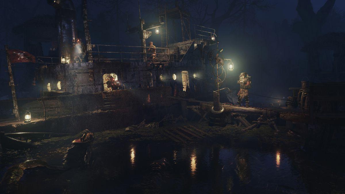 Human enemies protect a tugboat along the Volga river in Metro Exodus.