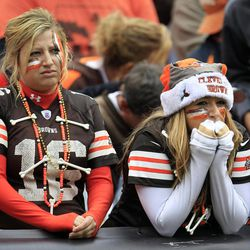 Cleveland Browns fans reacts in the fourth quarter of an NFL football game against the Buffalo Bills, Sunday, Sept. 23, 2012, in Cleveland.
