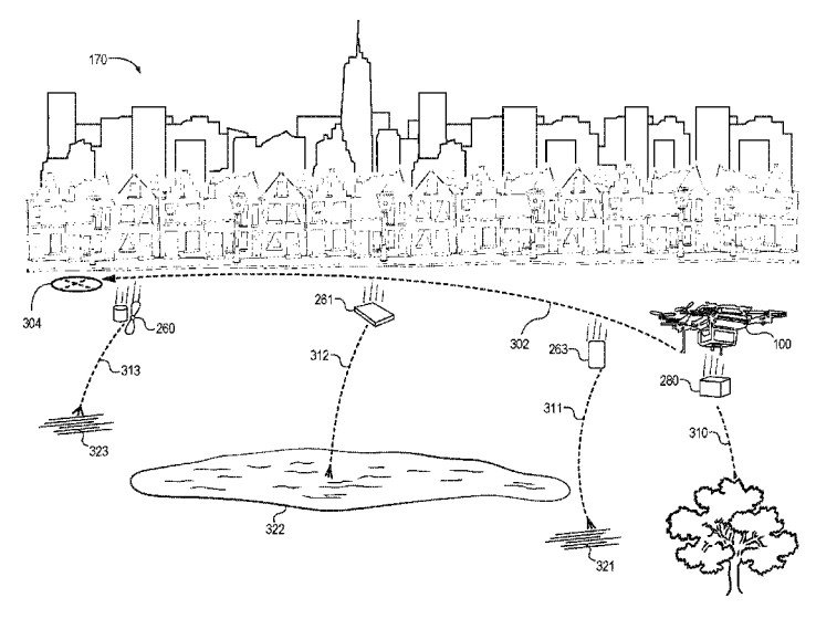 drones autonomous vehicles and flying cars stock discussion Future School Bus an illustration from the patent shows a drone dismantling itself mid air image amazon uspto