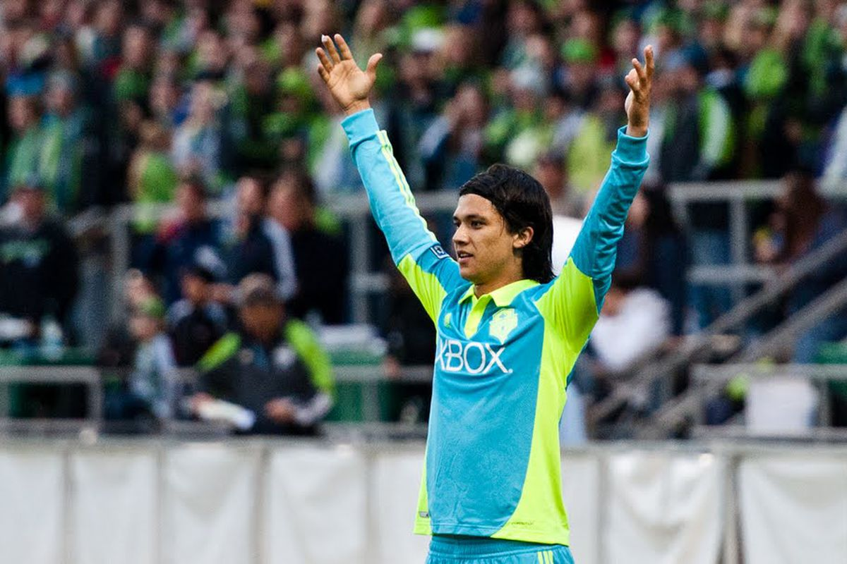 """Fredy Montero Celebrates His Free Kick Goal. Photo Courtesy of <a href=""""http://www.facebook.com/janegphotography"""" target=""""new"""">Jane G Photgraphy</a>"""