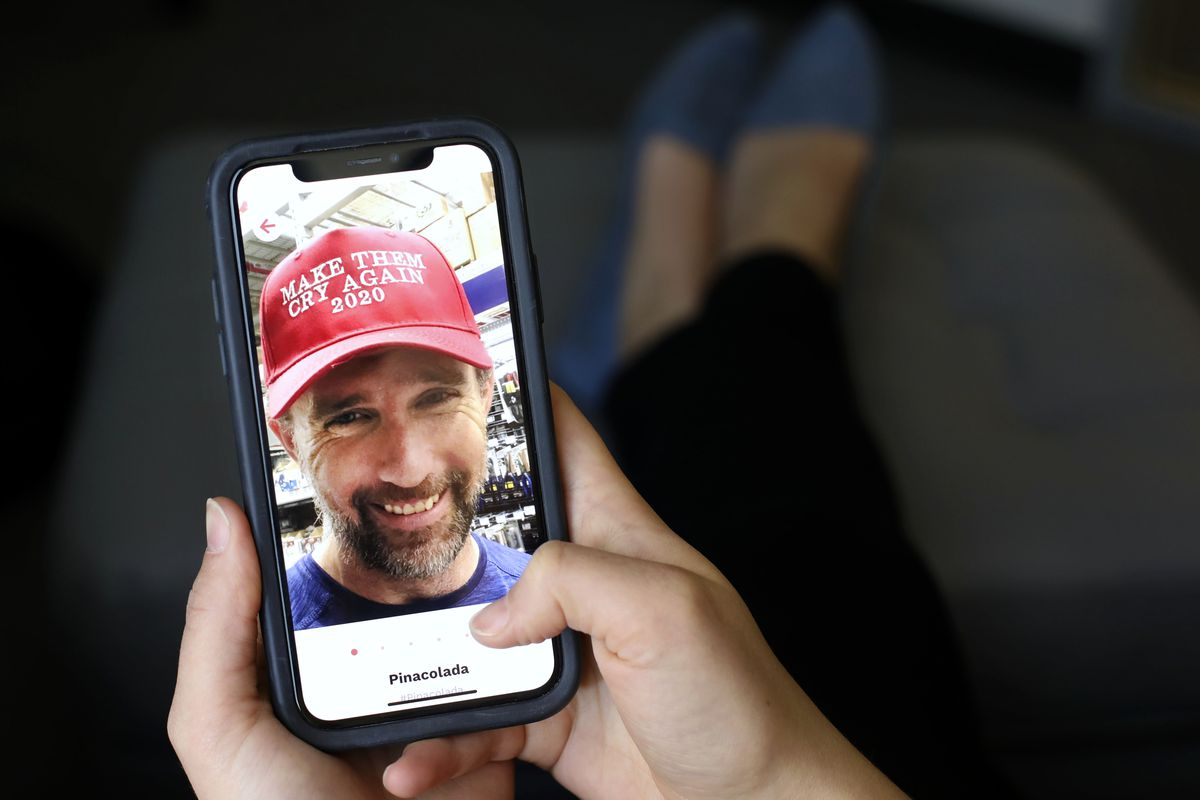 """There are numerous dating apps for Trump supporters. Jeremiah Cummings, a 40-year-old man from Colorado Springs, Colo., is on the """"Righter"""" app. Photograph taken in Salt Lake City on Wednesday, Oct. 9, 2019."""