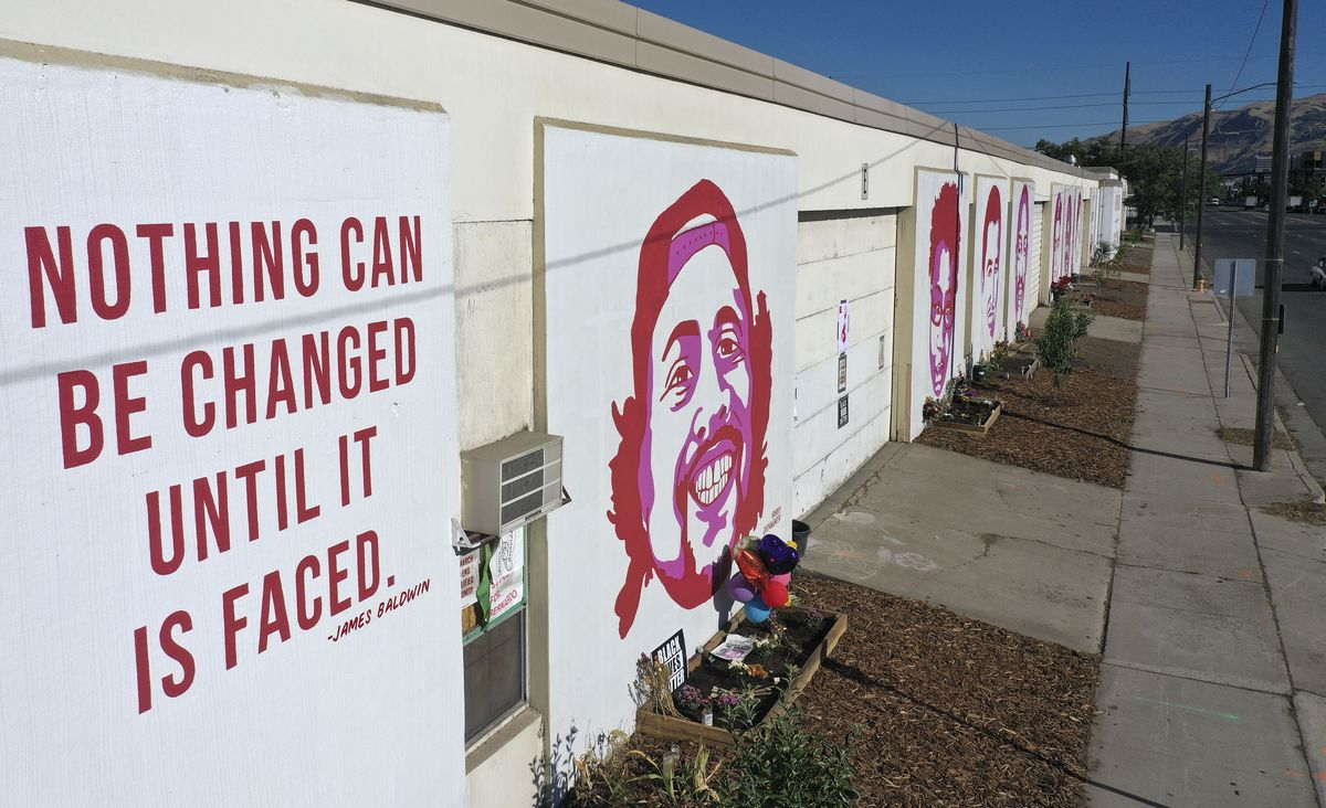 Murals honor Bobby Ray Duckworth, who was killed in an officer involved shooting, and other alleged victims of police violence near the corner of 300 West and 800 South in Salt Lake City on Tuesday, Sept. 1, 2020.